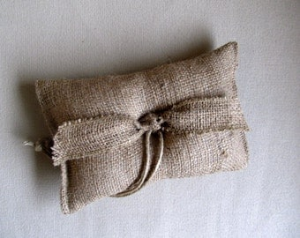 "ring bearer pillow  ""TIED THE KNOT"" natural Burlap"