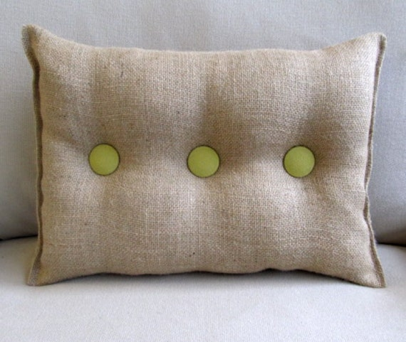 Burlap Pillow with Granny Smith green organic cotton duck buttons