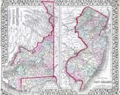 New Jersey Maryland and Delaware 1874. Antique Map. Printable Map. Instant digital download