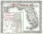 Florida 1874 - Antique Map by Samuel Augustus Mitchell Jr. Printable Map. Instant digital download.