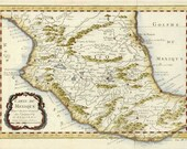 Mexico c1780. Antique Map of Mexico by Bonne - MAP PRINT