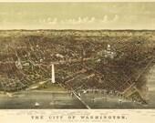 Washington DC 1892 - Antique Map Bird's Eye View.  Printable Map. Instant digital download.