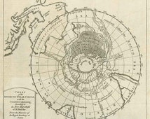 Antarctic Polar Circle map 1763. Antique Chart of the Antarctic Polar Circle - MAP PRINT