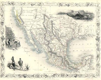 Mexico, California, Texas c1850. Antique Map of Mexico, California and Texas by Tallis - MAP PRINT