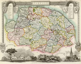 Norfolk 1837. Antique map of the County of Norfolk,  England  by Thomas Moule - MAP PRINT