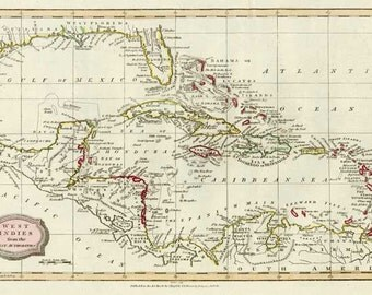 West Indies 1816. Antique Map of West Indies by Barlow - MAP PRINT