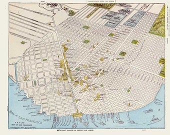 San Francisco 1899. Antique Map of San Francisco Bird's Eye View - MAP PRINT