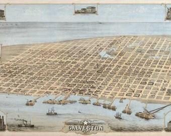 Galveston 1871. Antique Map of Galveston, Texas Bird's Eye View - MAP PRINT
