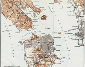 San Francisco 1909. Antique map of San Francisco Bay area - MAP PRINT