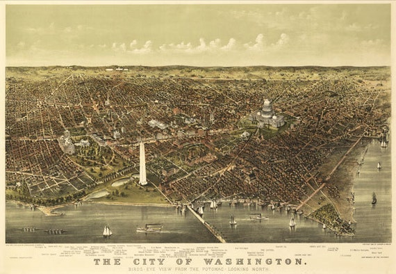Washington DC 1892 - Antique Map Bird's Eye View.  Printable Map. Instant digital download.