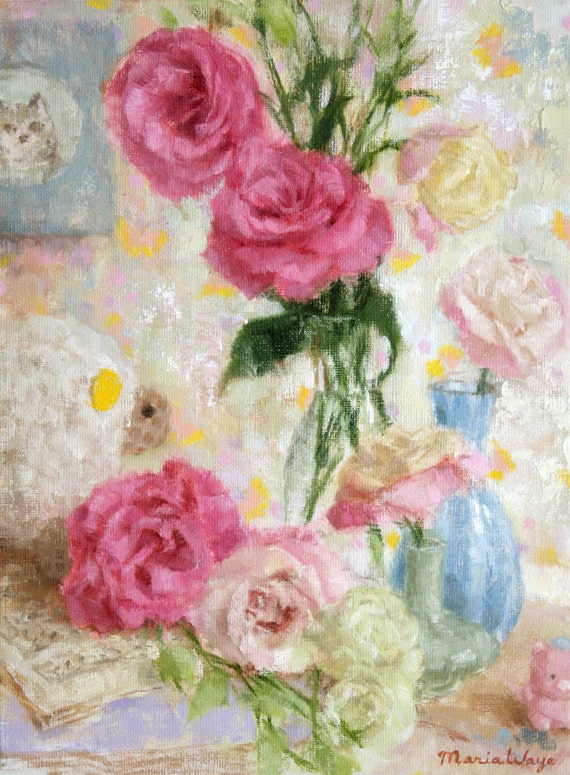 Floral Painting, Original Oil Painting Flowers, Pink Roses Still Life, music, canvas, cat lamb, light blue yellow white lavender, lisianthus