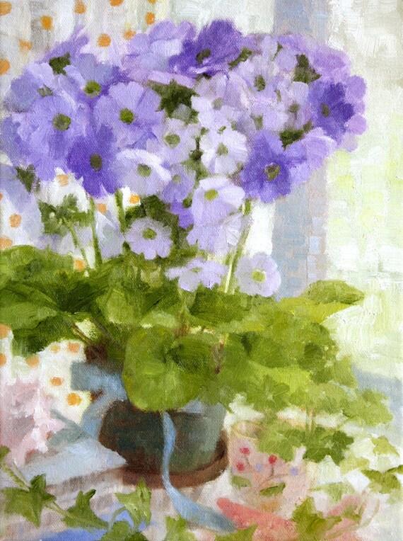 Flowers original oil painting still life, purple lavender green, pretty modern spring flower art, cheerful colorful, canvas primrose ivy