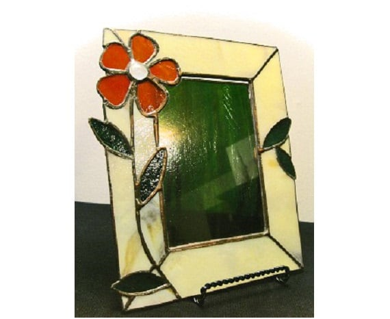 Versatile Flower Stained Glass Picture Frame / Table and Wall