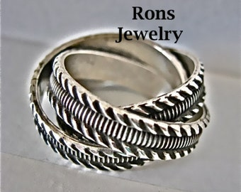 Sterling Silver, Rolling Puzzle Ring, Rope and Line Design