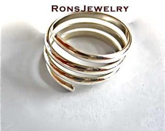 Sterling Silver, Coil Ring Handcrafted