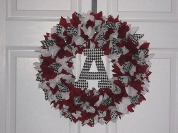 """Alabama Crimson Tide Fabric Wreath with Block """"A"""""""