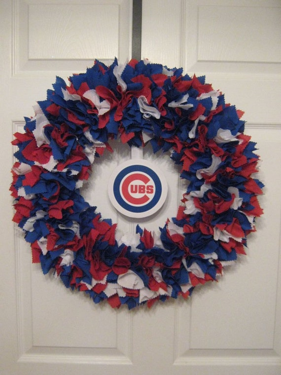 "MLB: 18"" Chicago Cubs Fabric Wreath-logo must be attached by consumer"