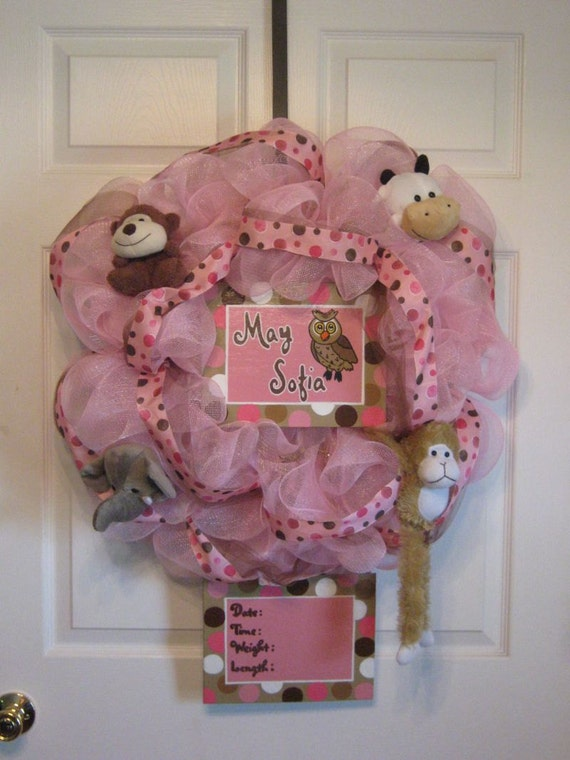 Items similar to custom birth baby shower baby welcome for Baby girl hospital door decoration