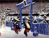 Japanese Art. Fine Art Reproduction. Hiroshige Landscapes: Gion Shimu Temple in the Snow, c. 1830s. Fine Art Print - DaVinciArtPrints