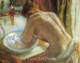 Fine Art Reproduction. La Toilette - At the Washbasin, c.1885. Pastel Drawing by Edgar Degas, Fine Art Print.