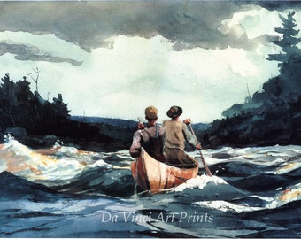 Winslow Homer Watercolor Reproductions. Canoe in the Rapids, 1897. Fine Art Print.