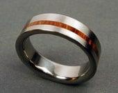 Titanium and Wood wedding ring -- Rosewood Pinstripe