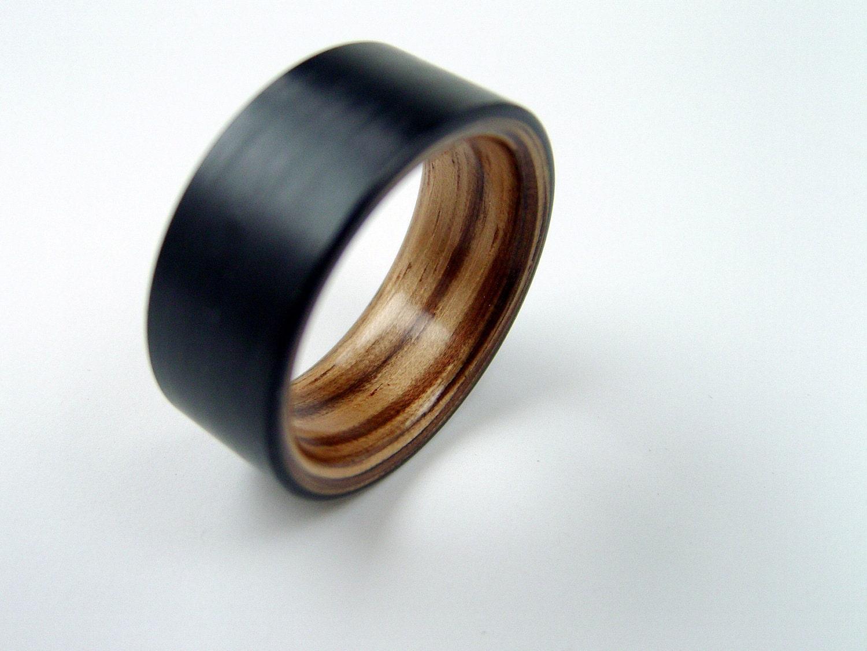 Mens wedding bands titanium carbon fiber bent wood and carbon fiber