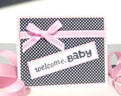 Handmade Baby Girl Card - Welcome Baby - Free US Shipping