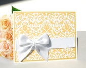 Handmade Wedding Card - Lemon Chiffon - Free US Shipping