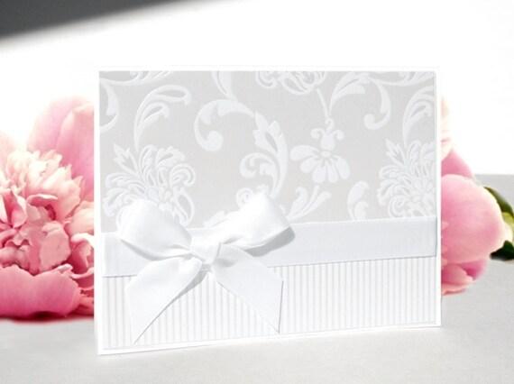 Handmade Wedding Card - White Wedding - Free US Shipping