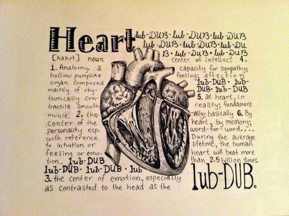 Anatomy of the Heart- fine art origional pen and Ink drawing and poem.