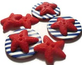 Sea star -handcrafted  polymer clay , 6 buttons set