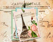 EIFFEL TOWER PARIS Digital Collage sheet Printable Pdf Jpeg Download Gift Tags Aceo Atc Vintage Rose French Vintage Postcard t01