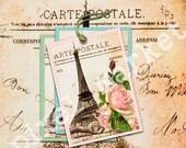 EIFFEL TOWER PARIS Digital Collage sheet Printable Pdf Jpeg Download Gift Tags Aceo Atc Vintage Rose French Vintage Postcard t01