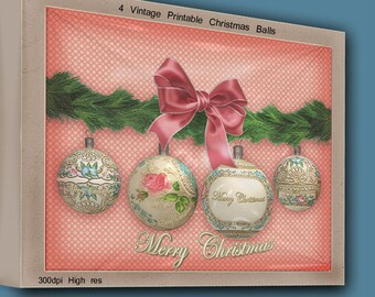 Vintage CHRISTMAS BALLS ORNAMENTS Xmas Balls Printable Digital Collage Sheet Card Invitation Greetings Scrapbooking Clip art  Balls e08