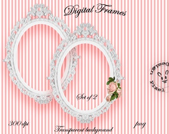 Printable White OVAL FRAMES for Photographer Web Blog Digital Scrapbooking Die Cut Ornate Frame Shabby Chic Wedding Stamp Clip Art Fr11