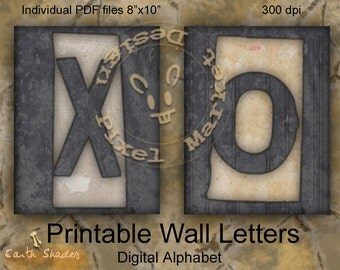 Alphabet Wall Hanging Frame PRINTABLE WALL LETTERS for Home Decor Word Art Scrapbooking Print Large File Wall Lettering Font a03