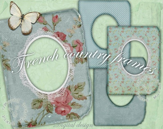 Oval PHOTO FRAME Set of 4 Floral Picture frame ClipArts in light blue Printable Download for Photographer Web Blog Digital Scrapbooking Fr08