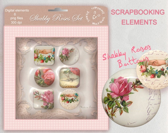 Instant Download Shabby ROSES GLOSSY CLIPARTS Printable Buttons Digital Elements Embellishments for Scrapbooking Png Pdf e01