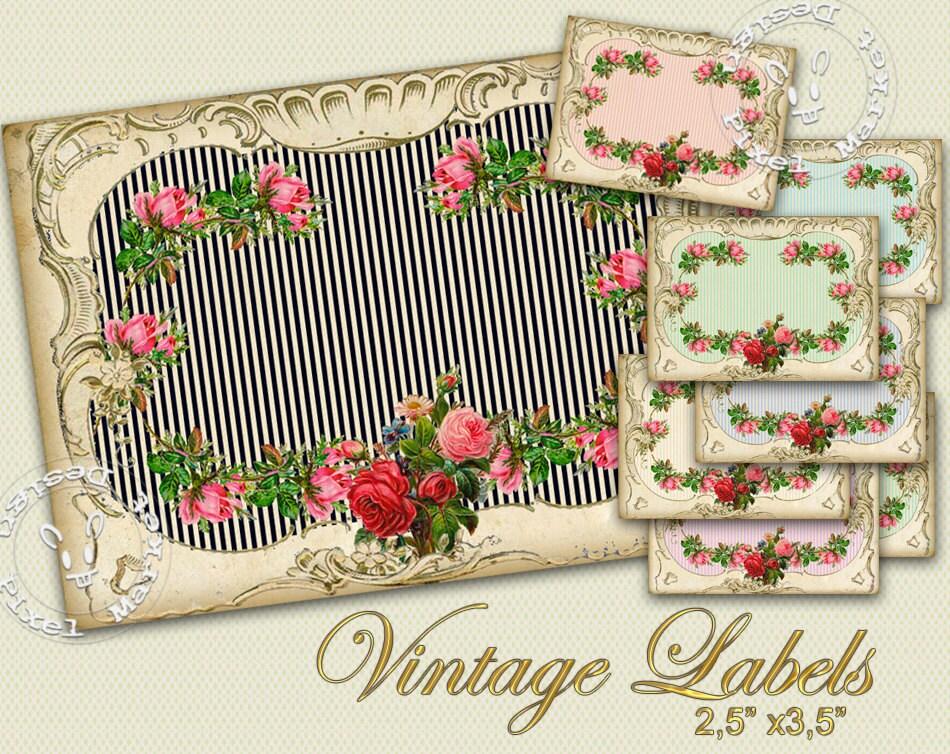 Blank Printable Tags: Vintage Rose Wreath Blank LABEL Printable TAG Shabby Chic