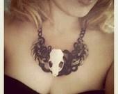 Taxidermy Mink Skull Metal Bib Necklace