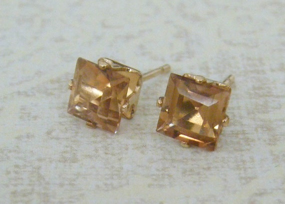 Imperial Topaz Square Gold Filled Stud Earring 5mm