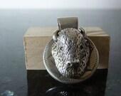 SUMMER SALE Interesting and Unusual Vintage Silver Bison Head Trophy Pendant