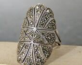Vintage Silver Art Deco Marcasite Ring