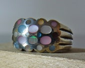 HOLIDAY SALE Vintage Silver Multi Colored Mother of Pearl Cluster Ring