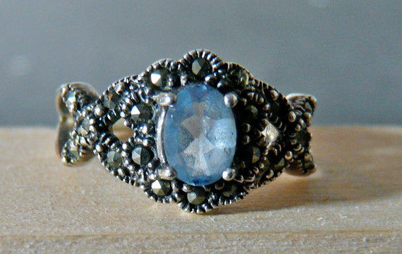 SALE Vintage Sterling Silver Marcasite Ring with Blue Gemstone Size 8