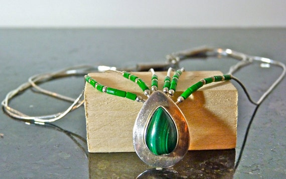 SALE Vintage Silver Malachite and Silver Beaded Triple Strand Necklace