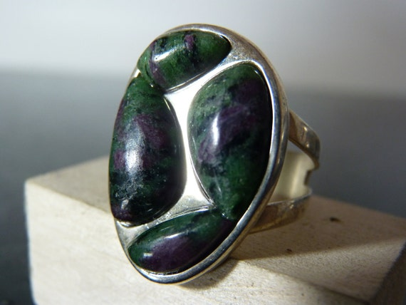 SPRING SALE Vintage Silver Chunky Green and Purple Gemstone Ring