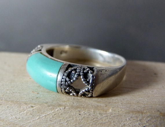 Vintage Silver Turquoise Dome with Engraving Ring