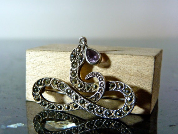 SALE Vintage Silver Marcasite Snake Brooch Pin with Dangling Purple Gemstone